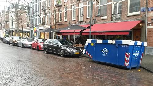 Een container in Cornelis Schuyt straat