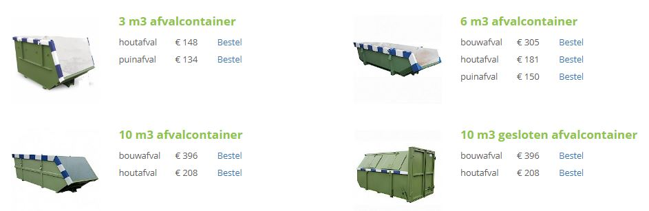 Overzicht containers